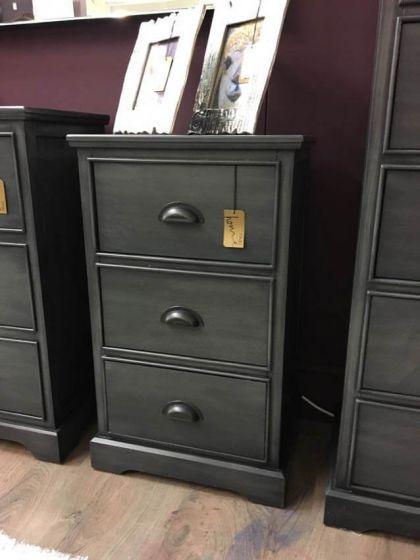 Charlie Grey 3 Drawer Bedside Cabinet