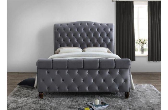 Denver Grey Or Black Velvet King Size Bed Frames