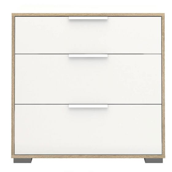 Design Line White and Oak 3 Drawer Chest
