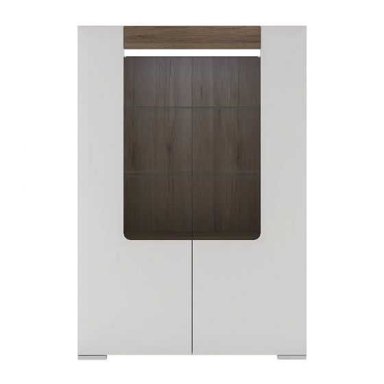 Designer Style White Low Open Glazed Cabinet