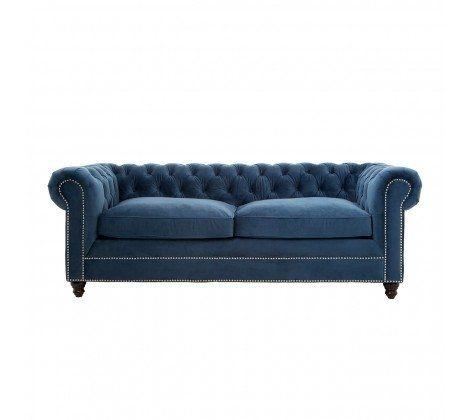 Ella 3 Seater Blue Velvet Sofa