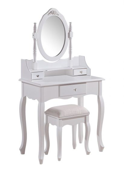 Ella French White Dressing Table Set With Stool
