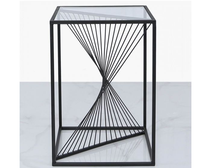 Erica Black Metal and Glass Side Table
