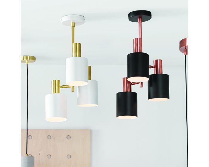 Evan White & Brass Detail 3 Light Pendant