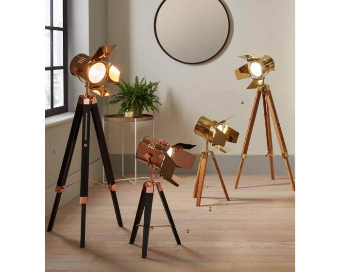 Film Style Copper Metal and Black Wood Tripod Floor Lamp