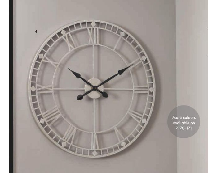 Flo Antique Silver Metal Round Wall Clock