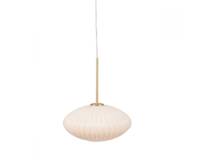 Florence White Glass and Gold Metal Ribbed Oval Pendant