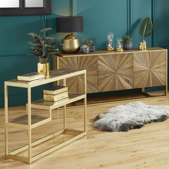 Forza Elm Wood and Iron Sideboard