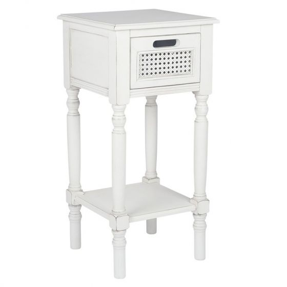 French Brushed White Pine 1 Drawer Side Table