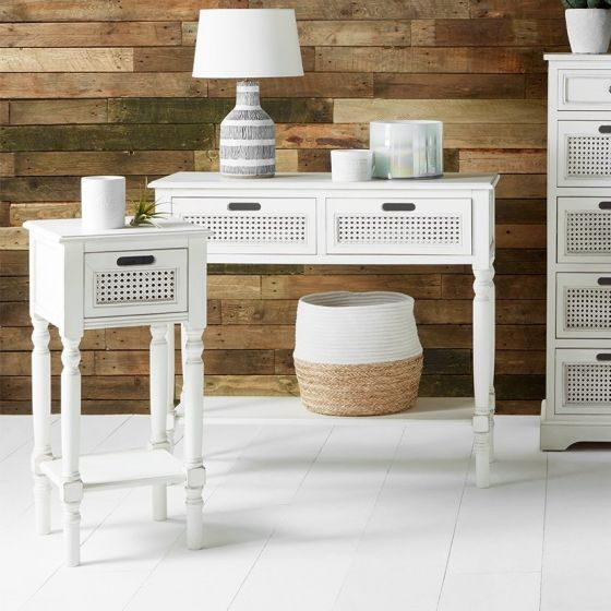 French Brushed White Pine 2 Drawer Console Table