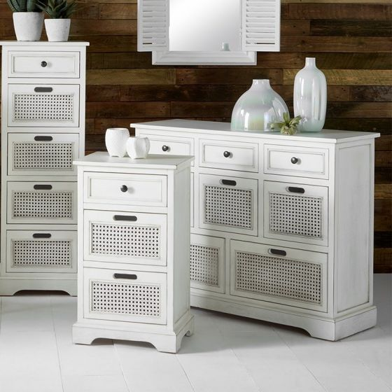French Brushed White Pine 3 Drawer Bedside Unit