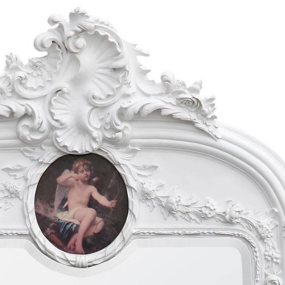 French Antique White Wall Mirror with Round Painting