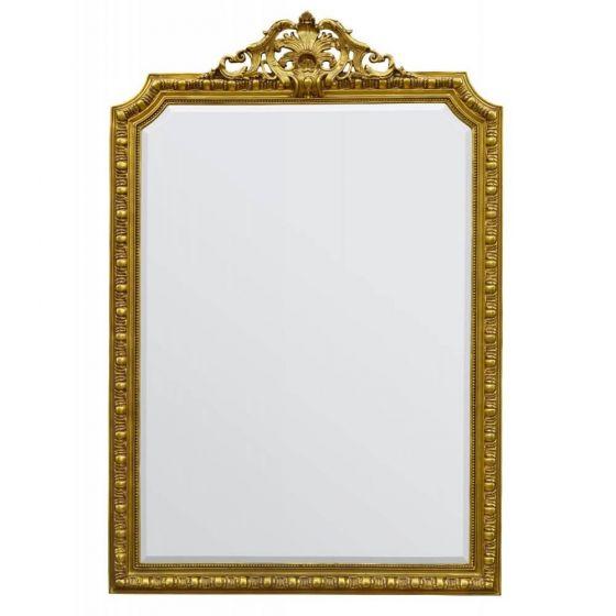 French Rococo Decorative Gold Rectangular Wall Mirror