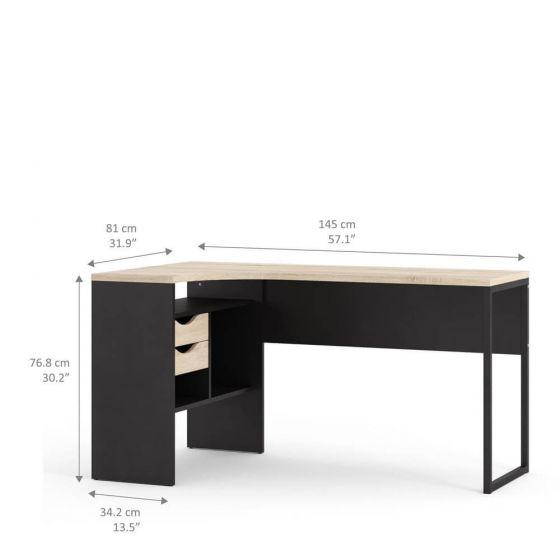 Function Corner Office Desk in Black and Oak