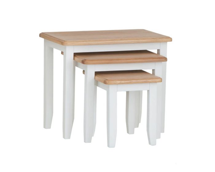 Gaetan Oak Nest of 3 Tables