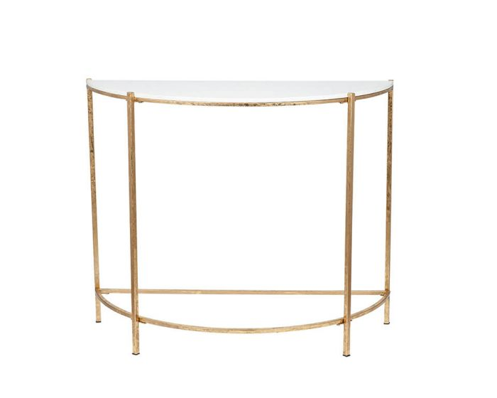 Giulia Antique Gold Metal Half Moon Console Table