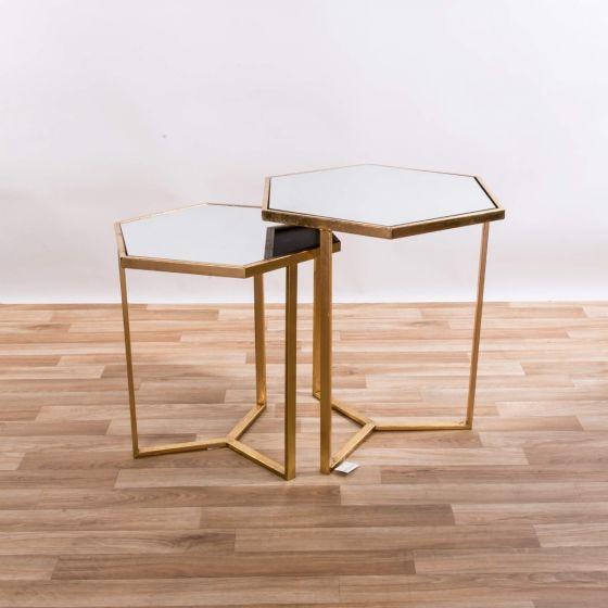 Gin Shu Gold Metal Hexagon Set of 2 Tables
