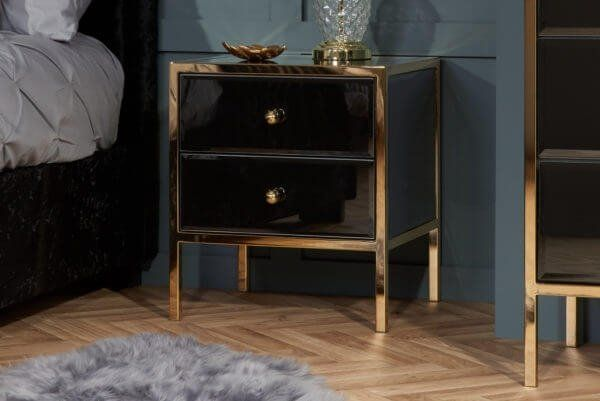 Glamour Black Glass and Gold 2 Drawer Bedside