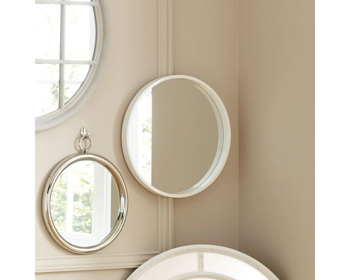 Gloria Glossy White Wood Round Wall Mirror