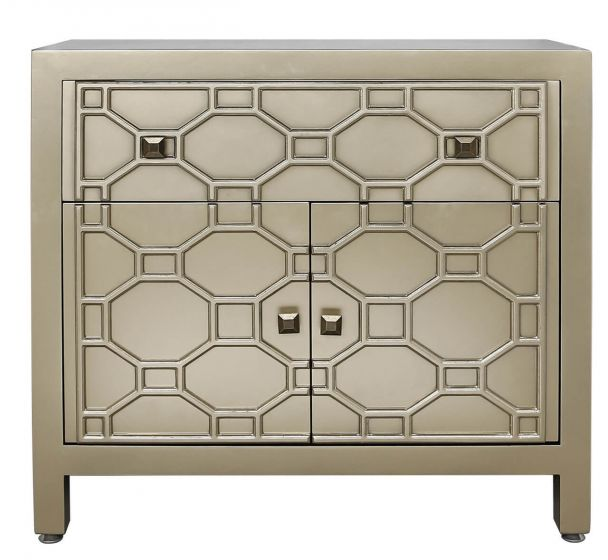 Gold Geometric Wood 1 Drawer 2 Door Cabinet Sideboard