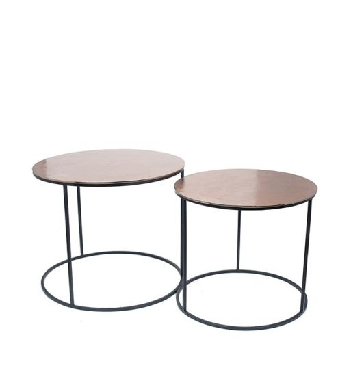 Gold Finished Aluminium Set of 2 Large Tables with Iron