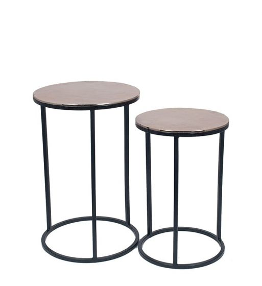 Gold Finished Aluminium Set of 2 Mini Tables with Iron