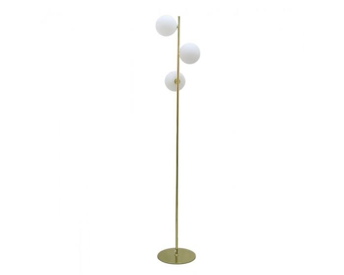 Gold Metal Floor Lamp With 3 White Glass Shades