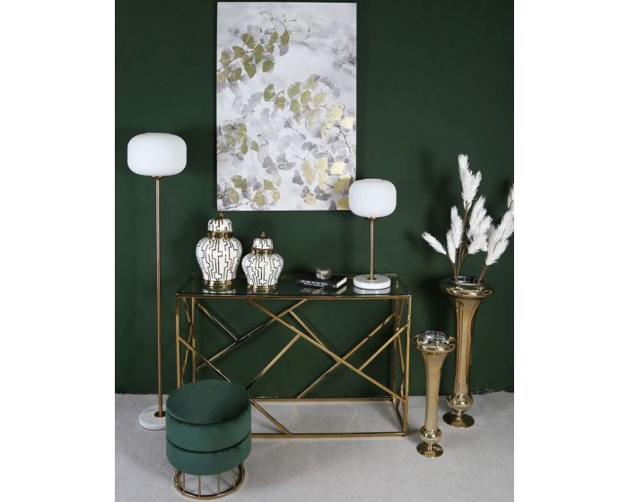 Gold Metal Floor Lamp With Round White Glass Shade