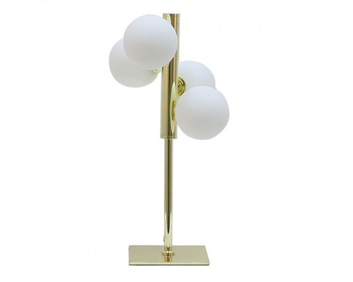 Gold Metal Table Lamp With 4 White Glass Shades