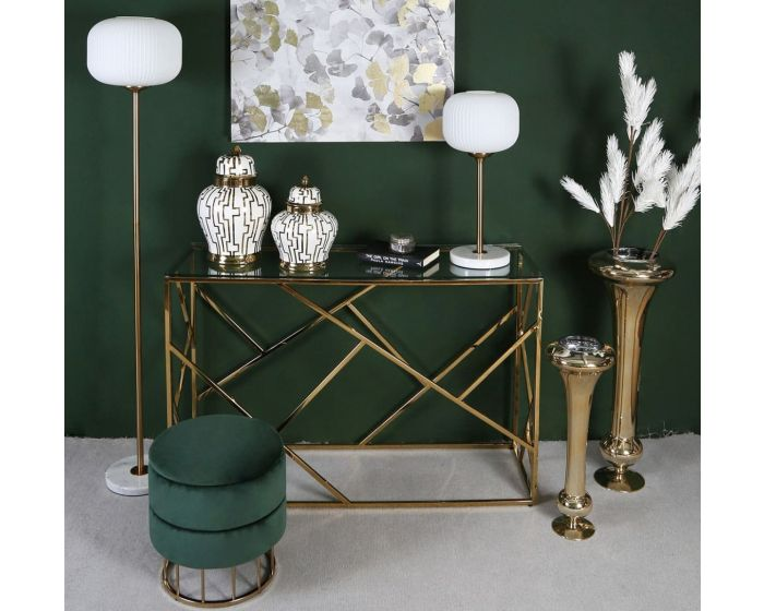 Gold Metal Table Lamp With Round White Glass Shade