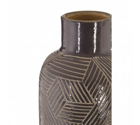 Grey Geometric Ceramic Vase