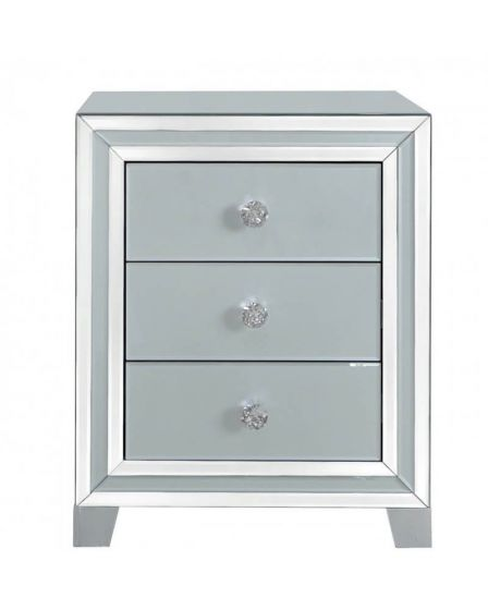 Grey Tinted Glass 3 Drawer Beside Cabinet