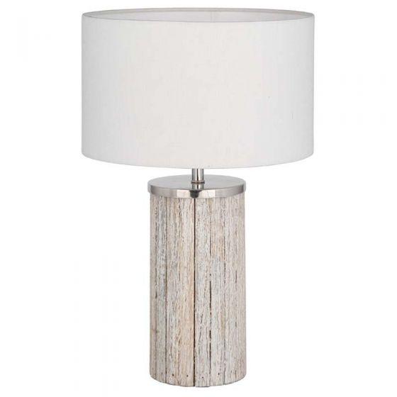 Grey Wash Wood Column Lamp