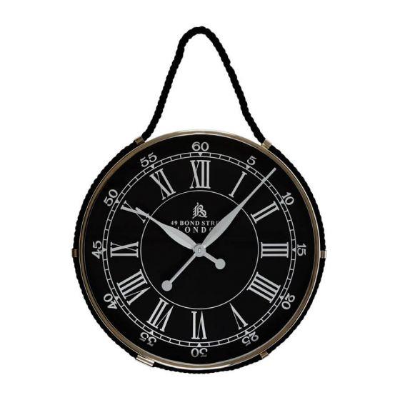 Hampshire Black Hanging Wall Clock