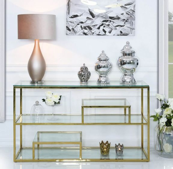 Harvey Gold Steel and Clear Glass  Console Table
