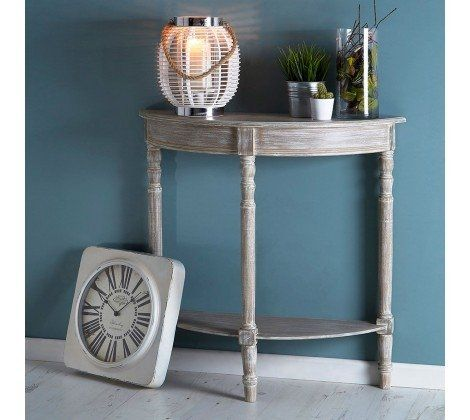 Heritage Brown Half Moon Console Table