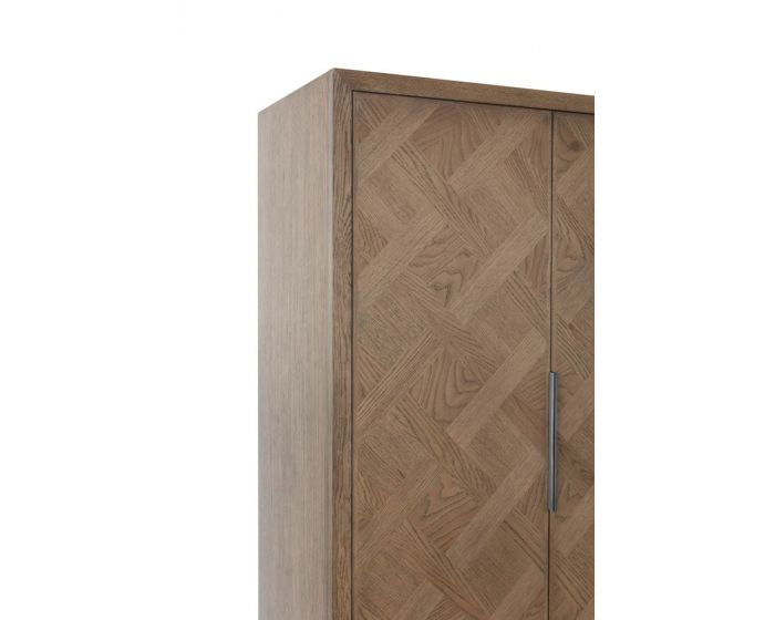 Irina Brown and Grey Patterned 2 Door Wardrobe