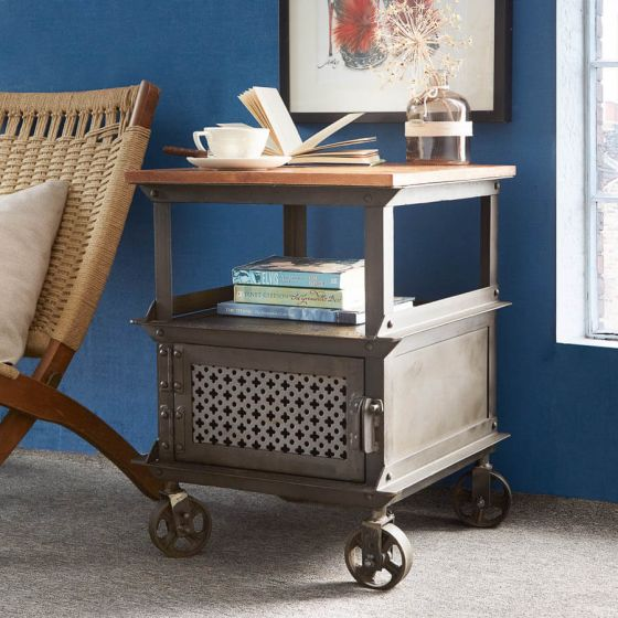 Industrial Eco Friendly Side Table on Wheels