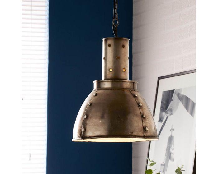 Industrial Pendant with Rustic Rivet Design