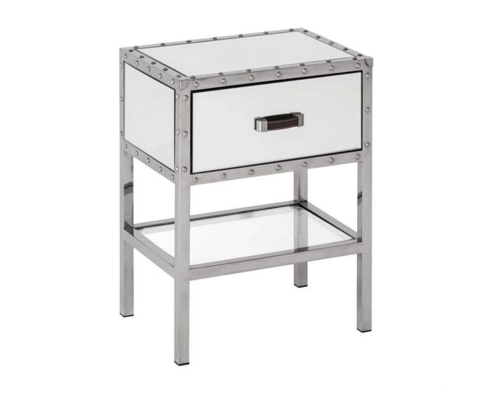 Industrial Rivet Mirrored Side Table