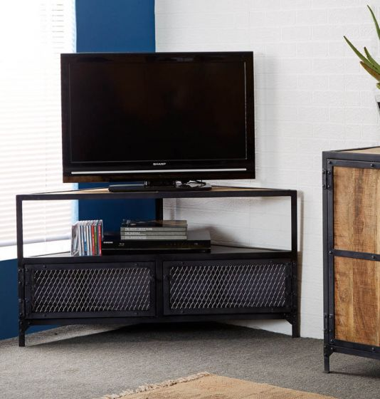 Industrial Black Metal Corner TV Unit