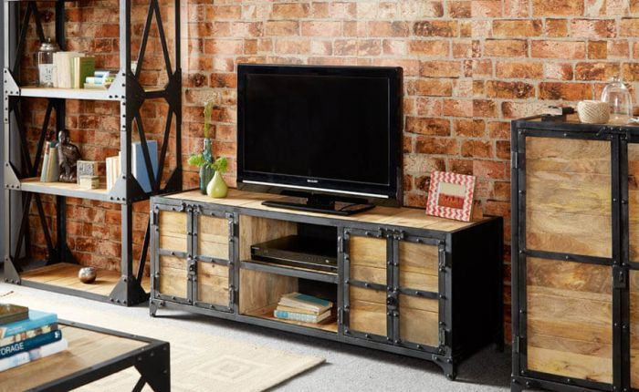 Industrial Solid Wood TV Unit