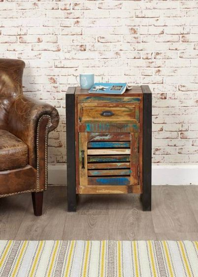 Industrial Reclaimed 1 Drawer Lamp Table