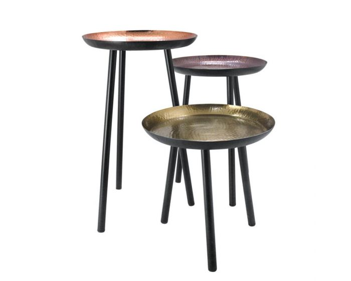 Industrial Style Complimentary Set of 3 Side Tables