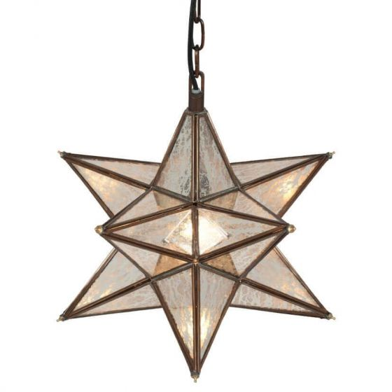 Industrial Antique Mirror Star Pendant