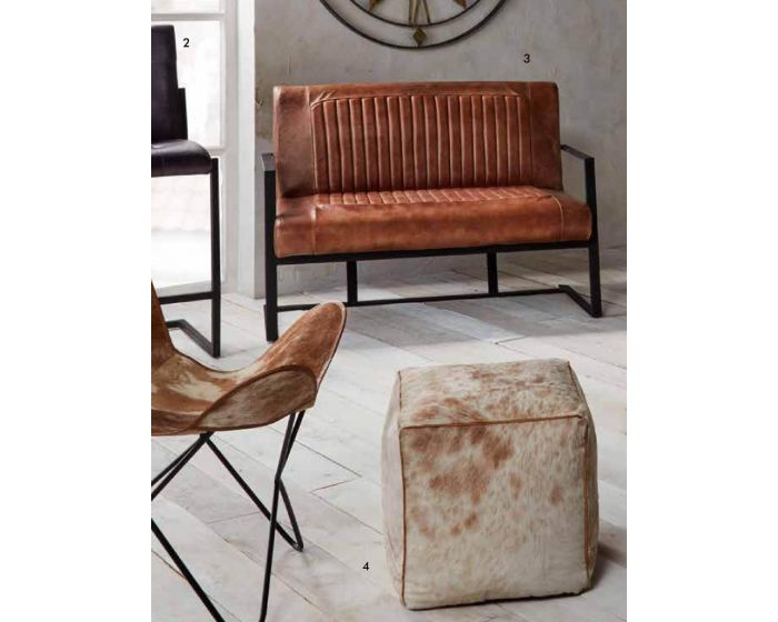 Industrial Vintage Brown Leather and Iron Sofa