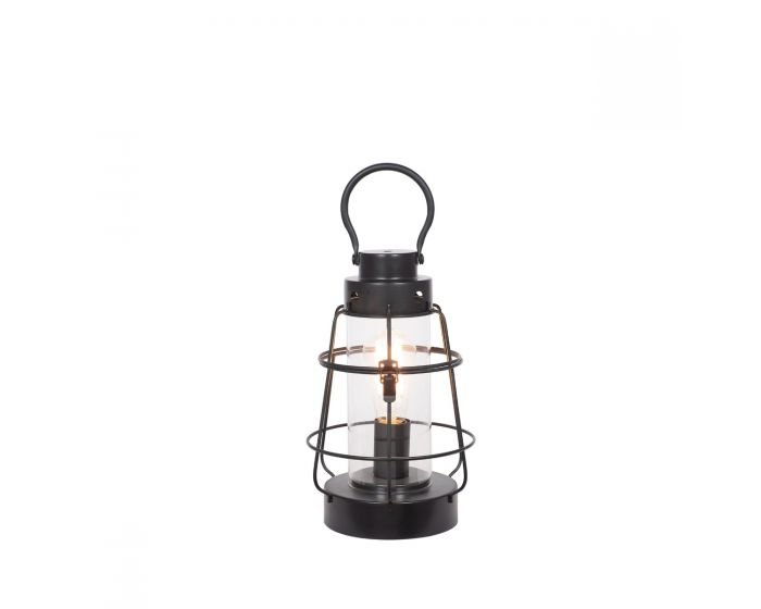 Industrial Black Metal & Clear Glass Oil Lantern Effect Table Lamp