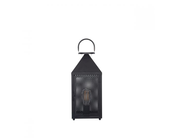 Industrial Matt Black Metal Punched Lantern Table Lamp