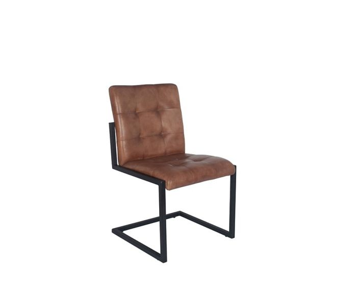 Industrial Vintage Brown Leather & Iron Buttoned Chair