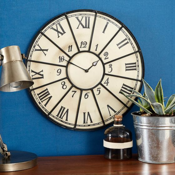 Industrial Cream and Metal Large Wall Clock